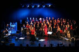 Rock och popkören 65+ fick för gårdagskvällens konsert förstärkning av Ås och Frösö Gospel under ledning av Camilla Karlsson.