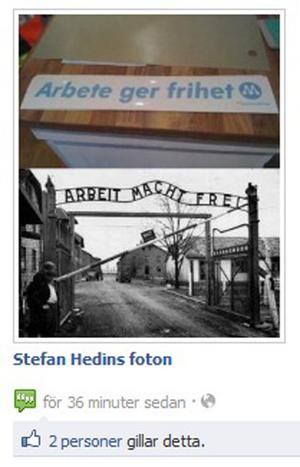 Det här är den bild som Stefan Hedin i torsdags kväll lade ut på sin Facebooksida och som orsakade starka reaktioner.