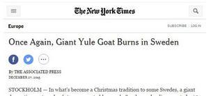 New York Times skriver om att bocken brunnit ner.