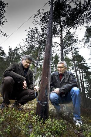 Farligt fyrverkeri. Thomas Karlsson och Lars Kriström är oroliga att någon ska få ström i sig.Bild: HÅKAN EKEBACKE