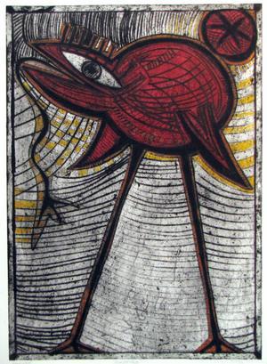 Monster fågel, djuptryck, Jesper Eriksson på Galleri Adular.
