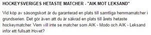 Så här skriver AIK på sin hemsida.