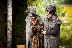 Vildsvinfamiljen (Hugo Kjellander, Lisa Nording och Hanna Olsson-Nygård), som kommer från en fjärran skog, misstänks för att stjäla mat.