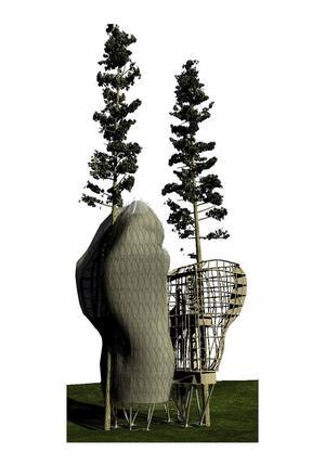Trädhusen ska vila på två ben och fästas i träden på ett sätt så att träden kan vaja med vinden och växa naturligt. På lördag är det invigning av den första etappen av projektet.