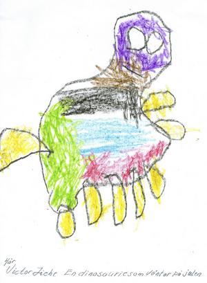 Victor 4år från Sandviken har skickat in en bild på en dinosauriebaby som väntar på julen. God Jul!
