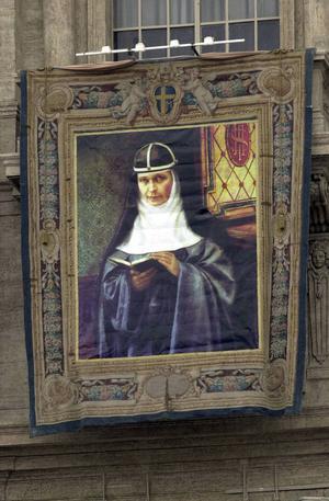 Bild av Elisabeth Hesselblad i Birgittasystrarnas kapell på Djursholm.