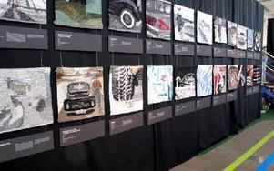 En lång rad motiv på temat fordon skapade av Team Hernmarck.