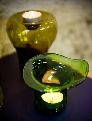 Av ölflaskor blir det fina vaser och ljuslyktor.
