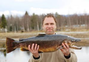 Håkan Hammar med sin rekordöring. Den vägde 7 660 gram och drogs upp i Ljusnan, Hede.