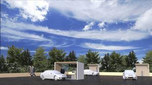 Bilden är en skiss över hur tankstationen kan komma att se ut.