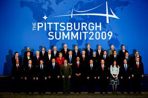 G20-medlemmarna vid stormötet i Pittsburgh, USA, i september.
