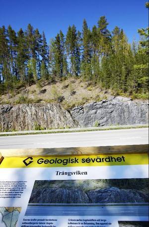 Här i Trångsviken finns en av de geologiska informationstavlorna i Krokoms kommun.