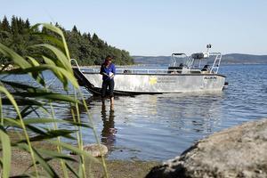 Lotta Nygård arbetar med att dokumentera växtligheten ute i vattnet. Ofta är den rik på områden där strandfloran också är värdefull.