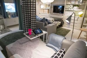 Snyggt och funktionellt när man är flera. Ett vardagsrum som liknar ett sovrum och som också kan användas som det. Praktiska bord för laptops, ipads och liknande. Olika slags belysning och  punktbelysning för läsning på skärm. Rummen omsluter besökaren så att det nästan känns som att man är hemma. Gardinerna i mitten av rummet kan dras isär och ihop och skapa två rum i ett.