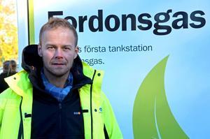 Kjell-Olov Matsson räknar med att intresset för fordonsgas ökar i regionen när tankstationen nu är på plats.