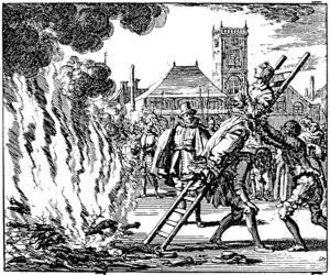 Anne Hendrichs bränns på bål i Amsterdam 1571. Kopparstick av Jean Luyken 1686.