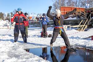 Dagens ståtligaste språng i plurret tog Ingela Wiklund från Ytterån.