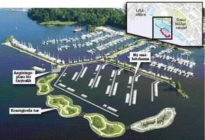 Nytt örike. Fyra öar tillverkade av gyttja från Mälarens botten är tänkta att fungera som en pir utanför den nya småbåtshamnen vid Öster Mälarstrand. Från färjekajen till slutet av holmarna är det cirka 500 meter.