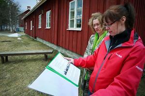 Eija Koivisto och Cilla Wiklund studerar det förslag de gjort för att göra Stocke Titt på  Frösön gästvänligare. Naturligtvis är Feng shui grunden.Foto: Olof Sjödin