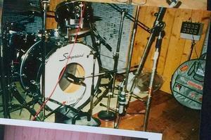 Chris Dangerous Slingerland-set i studion Rub-A-Dub under inspelningen av
