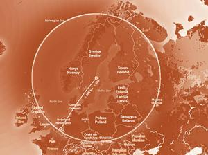 Exempel hur långt 1300 km är i radie från Gävle räknat.