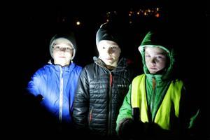Kelvin Hansson, 10 år och från Nälden och de jämnåriga kompisarna Tim Wolgers och Kevin Wolgers från Vaplan lyste sig fram i kolmörkret.