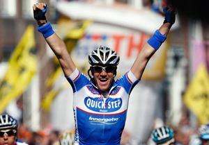 Wouter Weylandt vann den tredje etappen i loppet Giro d'Italia.