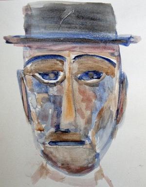 Ett av porträtten på utställningen.