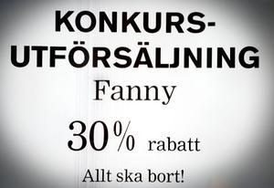 Konkursutförsäljning pågår hos Fanny, som har åtta butiker i Norrland. Tre av dem finns i Hälsingland.