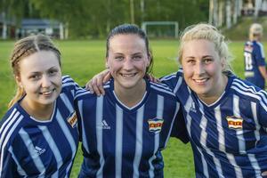 Kovlands målskyttar i den tidiga seriefinalen mot Ånge: Från vänster Lina Candell, Elin Löfblad och Emelie Åkersten.