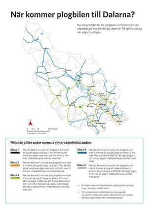Trafikverkets karta över hur Dalarnas vägar delas in i olika prioriteringsklasser.