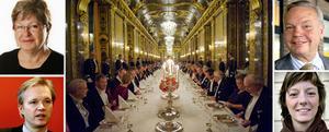 Sten Tolgfors, riksdagsledamot och försvarsminister, Gerd Engman, fd landshövding, Carl Jan Granqvist, krögare och Matilda Ernkrans, riksdagsledamot är några av namnen på listan med 160 inbjudna att äta med kungafamiljen.