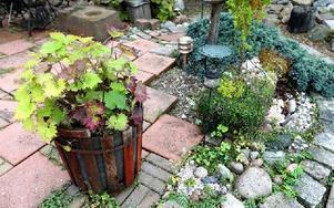 """Stenar i olika former pryder trädgården och gör gångarna lite krokiga och med runda former. Olika växter finns i krukor och planteringar. """"Vi har fått dela växter och köpt lite"""", säger Karin och Lars. Foto: Johnny Fredborg"""