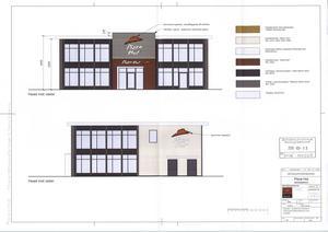 Skisser på hur Pizza Huts restaurang ska se ut i Skönsberg.