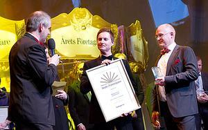 Kim Norström och Mikael Kölborg fick ta emot priset som Årets företagare på Guldstänksgalan.