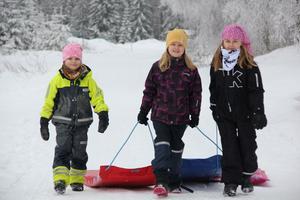 Systrarna Stina Von Wachenfeldt, 5, och Emma Von Wachenfeldt, 8, från Storhaga samt Alva Nordenståhl, 7 från Snäre njuter av att ha bytt ut läxor mot ledighet. Under tisdagen stod madrassåkning i pulkbacken vid Kajevall på schemat.
