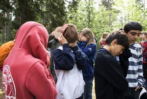 En fjärdeklass från Västra skolan räknar vid baklängeskurragömman.