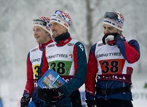 Åsarnas SM-guldlag i stafett, från vänster Lars Nelson, Johan Olsson och Anton Karlsson.