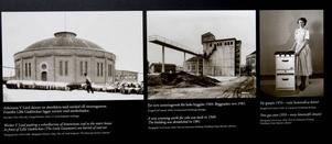 Skyltarna är försedda med bilder och ritningar ur Gävle Stadsarkivs samlingar och Länsmuseet Gävleborgs samlingar. Här syns en arbetare skjuta en skottkärra med stenkol till retortugnarna, det nya sorteringsverket för koks som byggdes 1949 och en hemmafru från 50-talet med ny gasspis.