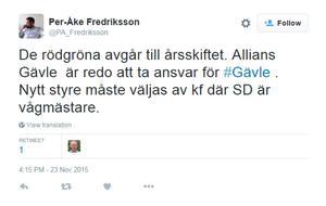 Liberalernas Per-Åke Fredriksson twittrade att Alliansen är redo att ta ansvar för Gävle.