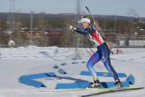 Sofia Myhr, Hede, på spurtvarvet i SM-loppet som hon vann före en amerikanska.