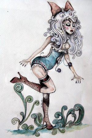 Frida låter sina figurer ha samma hårfärg som hon själv har för tillfället. När hon målade denna akvarell hade hon alltså blont hår.