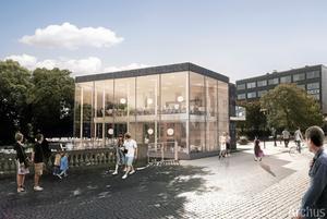 Glas och skiffer. Bistron ¿i Stadsparken kommer att ha cirka 100 sittplatser inomhus och 200 utomhus.Illustration: Archus