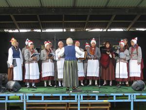 Kören från Killinge-Nômme sjunger under ledning av Tiiu Künnapas vid  Östamässan. Bild: Göran Lindal.
