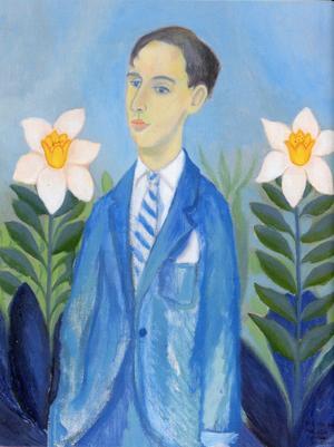 Lennart Jirlows finstämda porträtt av Bengt Helin. Målningen ingår inte i samlingen som ska säljas.