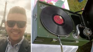 Henrik Krantz och hans familjs släktklenod, en gammal grammofon från 30-talet – som nu är stulen.