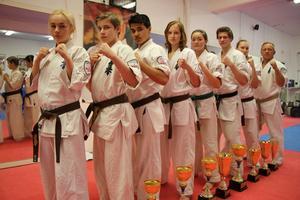 Från vänster: Tova Axelsson, Emil Wallén, Lipo Lodin, Agnes Westrin, Amber Lindblom, Daniel Karlsson, Daria Sleptsova, Egon Axelsson.
