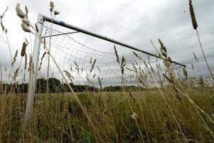 Styckad plan. I högt gräs återfinns ett av målen.
