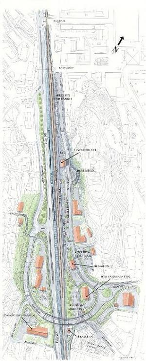 Så här är det tänkt att området kring järnvägen ska se ut när det nya resecentret i Kramfors är färdigt.