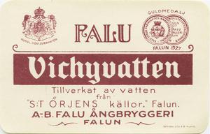 En gammal etikett – Kunglig hovleverantör, med vatten från Sankt Örjens källor i Falun. Fint värre.